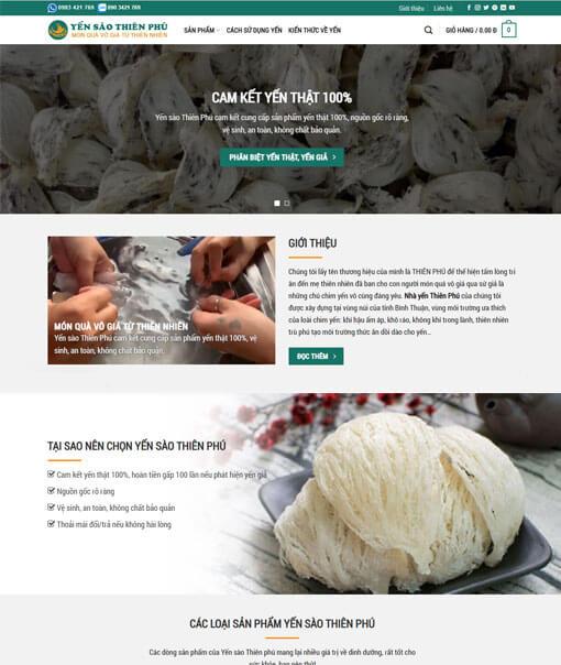 thiết kế website bán yến sào